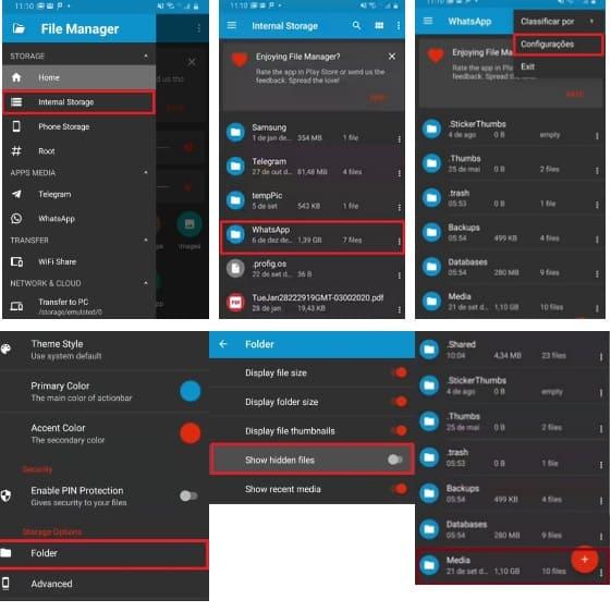 como visualizar o status do whatsapp e não mostrar com ES File