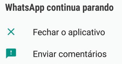 por que o whatsapp apresenta erro continuamente