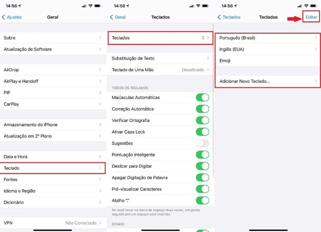 como trocar o teclado do Whatsapp no Iphone