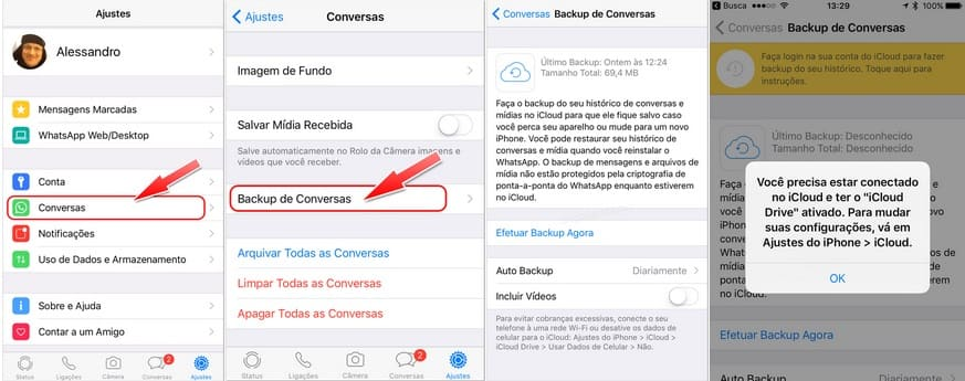 como fazer backup das conversas no WhatsApp iPhone