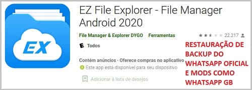 EZ File Explorer para restauração de backup no whatsapp gb