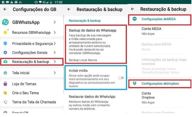 Como fazer backup do WhatsApp pelas Configurações do GB