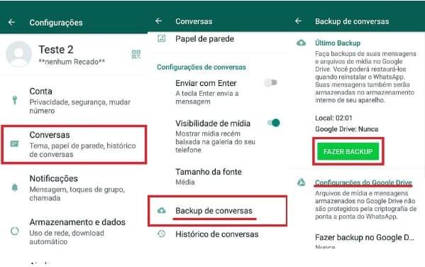 como fazer backup do whatsapp gb no próprio apk -configurações normais