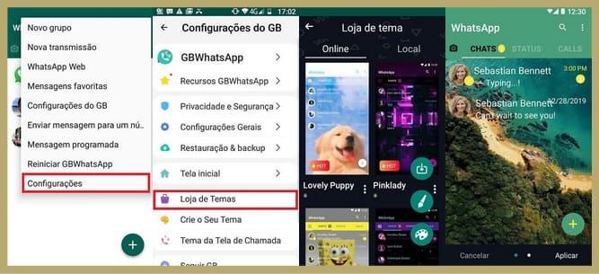 como mudar a cor do whatsapp gb pela loja de temas
