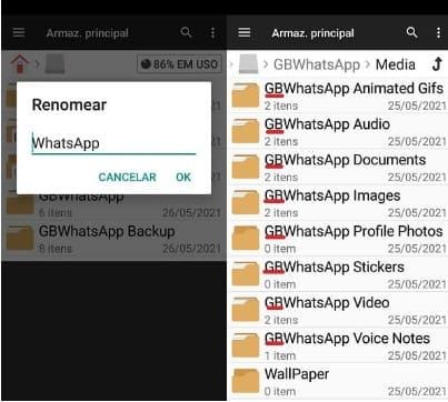 como restaurar o backup no whatsapp gb com file manager renomeando as pastas