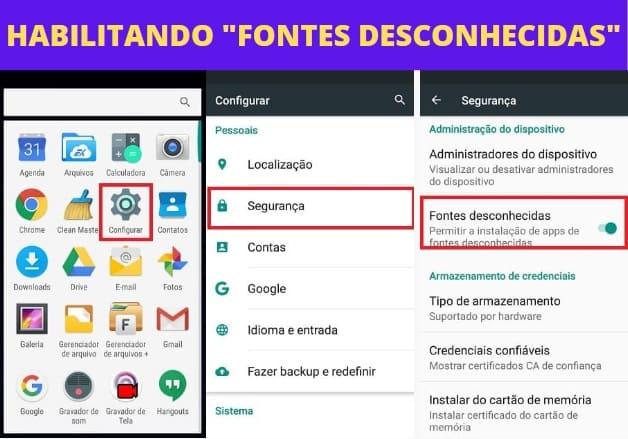 habilitando fontes desconhecidas para instalar o WhatsApp GB