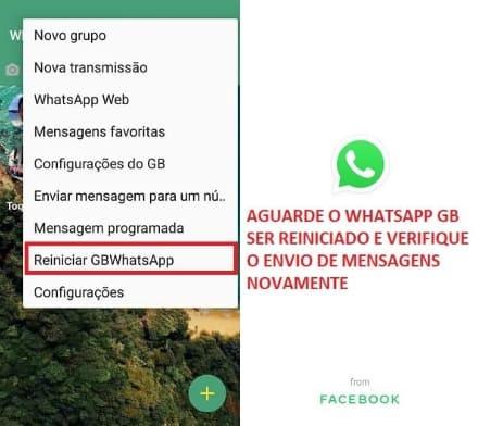 reinicie o whatsapp GB e verifique o envio de mensagens novamente