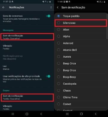 whatsapp não emite som de notificação