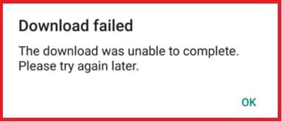 download do whatsapp falhou